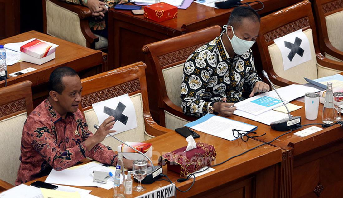Menperin Agus Gumiwang Kartasasmita dan Kepala BKPM Bahlil Lahadalia saat rapat Kerja dengan Komisi VI DPR, Jakarta, Selasa (23/6). Rapat tersebut membahas RKA-K/L & RKP K/L Tahun 2021. Foto: Ricardo - JPNN.com