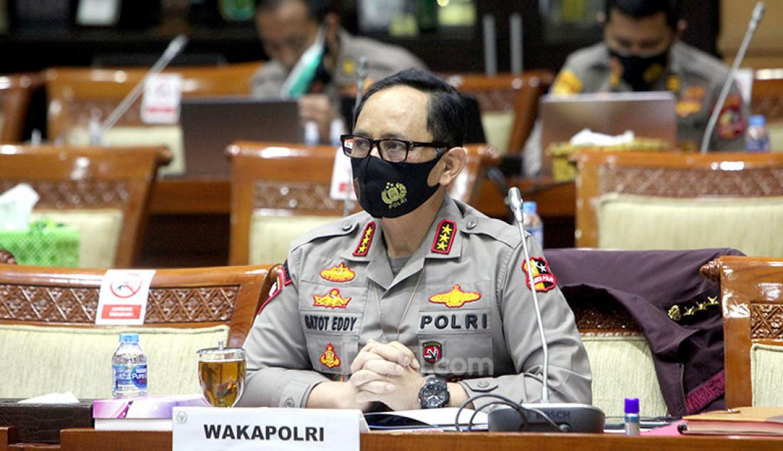 Wakapolri Komjen Gatot Eddy Pramono mengikuti rapat kerja dengan Komisi III DPR, Jakarta, Senin (14/9). Rapat ini membahas RKA K/L TA 2021. Foto: Ricardo - JPNN.com