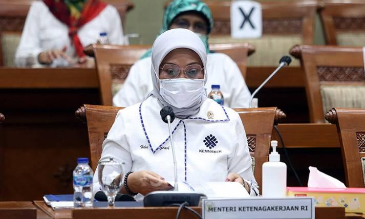 Rapat Kerja Komisi IX DPR dengan Menaker Ida Fauziyah - JPNN.com