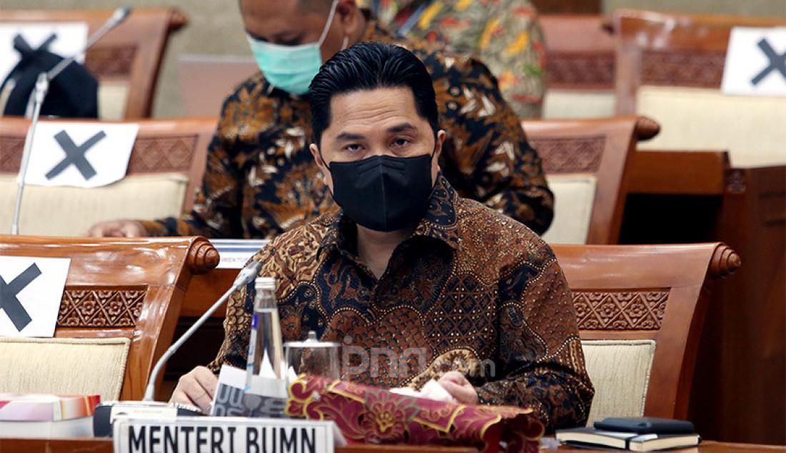 Menteri BUMN Erick Thohir mengikuti rapat kerja dengan Komisi VI DPR di Kompleks Parlemen Senayan, Jakarta, Senin (30/11) guna membahas permasalahan Asuransi Jiwasraya dan persoalan lainnya. Foto: Ricardo - JPNN.com