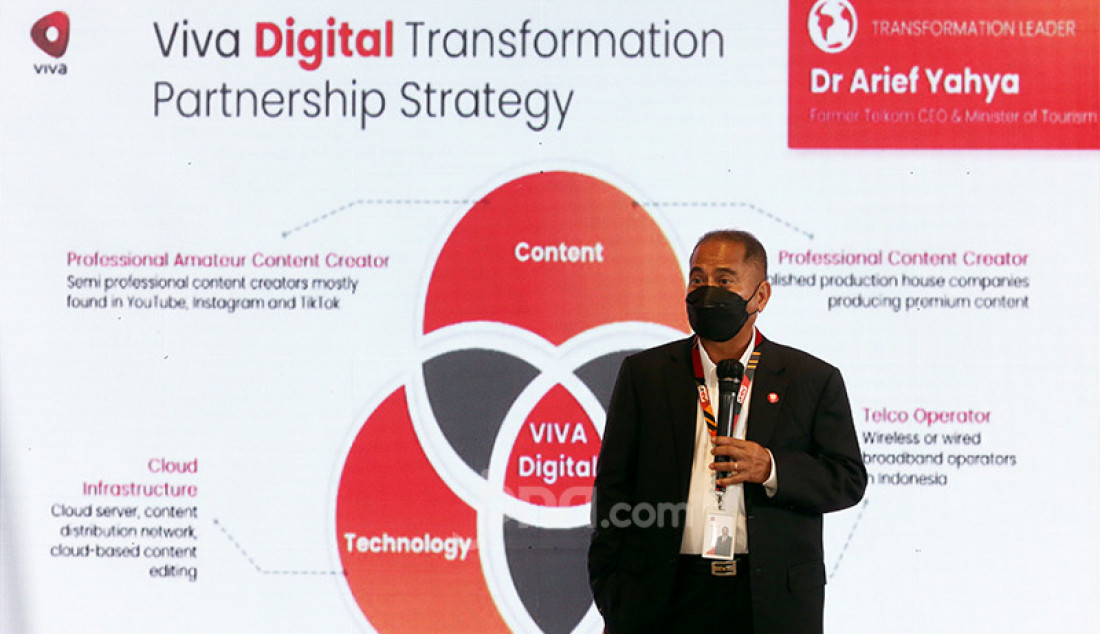 Direktur Utama PT Intermedia Capital Tbk Arief Yahya pada RUPSLB VIVA 2021 di Jakarta, Senin (15/3). RUPSLB VIVA 2021 menyetujui rencana perseroan menjual 39 persen sahamnya di PT Intermedia Capital Tbk (MDIA), perusahaan induk stasiun televisi ANTV, dengan harga Rp 2,43 triliun. Foto: Ricardo - JPNN.com