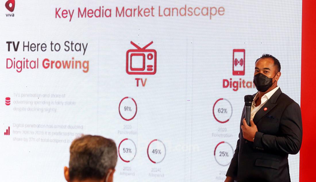 Wakil Presiden Direktur PT Visi Media Asia Tbk Anindra Ardiansyah Bakrie pada RUPSLB VIVA 2021 di Jakarta, Senin (15/3). RUPSLB VIVA 2021 menyetujui rencana perseroan menjual 39 persen sahamnya di PT Intermedia Capital Tbk (MDIA), perusahaan induk stasiun televisi ANTV, dengan harga Rp 2,43 triliun. Foto: Ricardo - JPNN.com